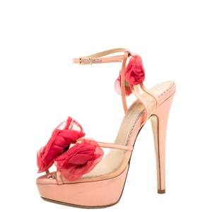 Charlotte Olympia Peach/Pink Satin and Mesh Pomeline Rose Peep Toe Platform Sandals Size 36