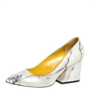 Charlotte Olympia Cream Marble Print Leather Mabel Pumps Size 37.5
