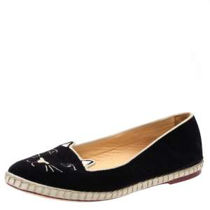 Charlotte Olympia Black Velvet Kitty Slip On Loafers Size 40