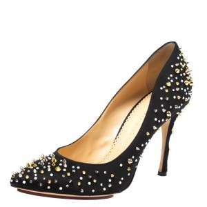 Charlotte Olympia Black Satin Studded Pointed Toe Pumps Size 40.5