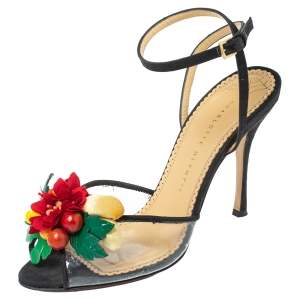 Charlotte Olympia Black Canvas Trims And PVC Tropicana Ankle Strap Sandals Size 40