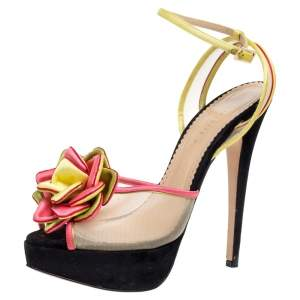 Charlotte Olympia Multicolor Satin And Mesh Flower Open Toe Platform Ankle Strap Sandals Size 40.5