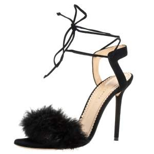 Charlotte Olympia Black Suede And Feather Embellished Salsa Sandals Size 40