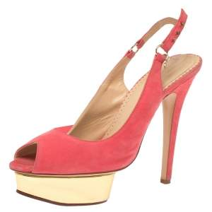 Charlotte Olympia Pink Suede Slingback Peep Toe Platform Sandals Size 37.5