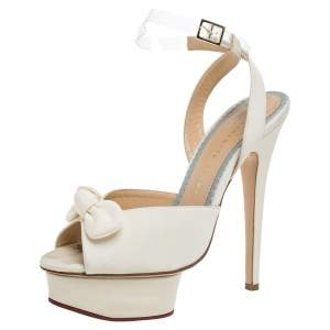 Charlotte Olympia Cream Satin Serena Bow Ankle Strap Platform Sandals Size 37