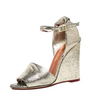 Charlotte Olympia Metallic Gold Crackled Leather Mischievous Wedge Sandals Size 38