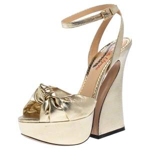 Charlotte Olympia Gold Lame Fabric Vreeland Platform Sandals Size 38
