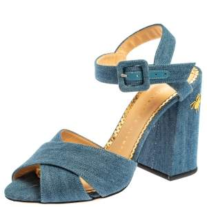 Charlotte Olympia  Blue Denim Fabric Emma Embroidered Ankle Strap Sandals Size 38
