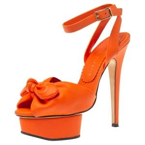 Charlotte Olympia Orange Vinyl Leather Serena Bow Ankle Strap Platform Sandals Size 35.5