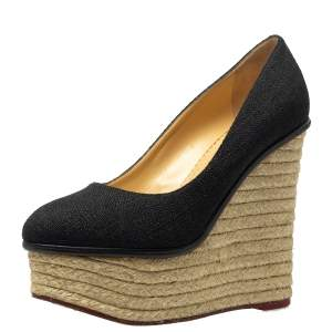 حذاء كعب عالى شارلوت أوليمبيا إسبادريلز كعب روكى كارمن رافيا أسود مقاس 37.5