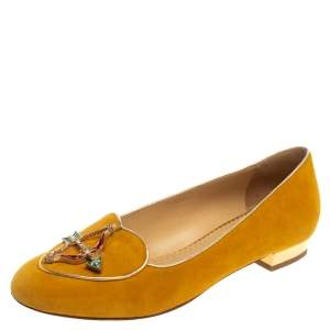 Charlotte Olympia Mustard Suede Zodiac Flats Size 38.5