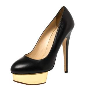 Charlotte Olympia Black Leather Dolly Platform Pumps Size 39