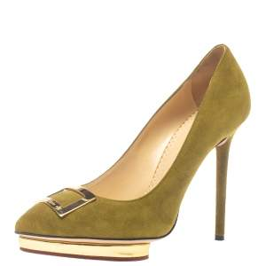 """حذاء كعب عالي شارلوت اوليمبيا """"دوتي"""" نعل سميك سويدي أخضر مقاس 37.5"""