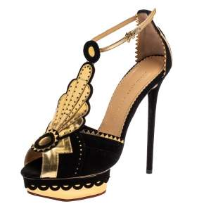 Charlotte Olympia Black/Gold Suede And Leather Sunset Ankle Strap Platform Sandals Size 41