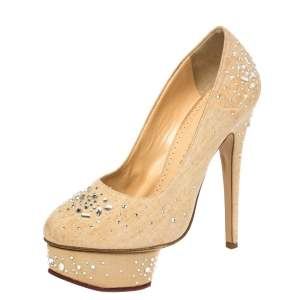 Charlotte Olympia Beige Canvas Crystal Embellished Dolly Platform Pumps Size 36.5