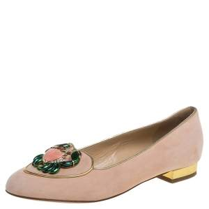 Charlotte Olympia Peach Suede Birthday Zodiac Cancer Ballet Flats Size 37