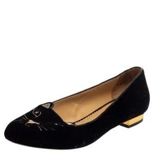 Charlotte Olympia Black Velvet Kitty Ballet Flats Size 38