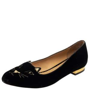 Charlotte Olympia Black Velvet Kitty Slip On Flats Size 39