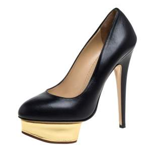 Charlotte Olympia Black Leather Dolly Platform Pumps Size 38