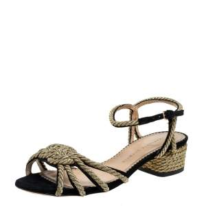 Charlotte Olympia Black Suede And Gold Rope Detail Strappy Sandals Size 39