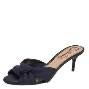 Charlotte Olympia Black Canvas Lola Sandals Size 37