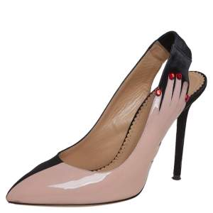 Charlotte Olympia Beige/Black Patent Leather And Suede Slingback Pumps Size 40