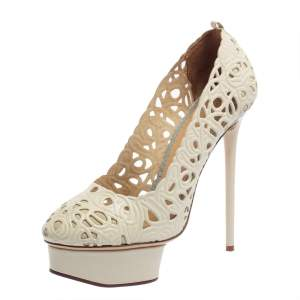 Charlotte Olympia Cream White Cut Out Leather Scribble Dolores Platform Pumps Size 39