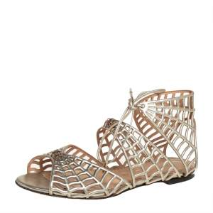 Charlotte Olympia Metallic Gold Leather Miss Muffet Flat Sandals Size 35