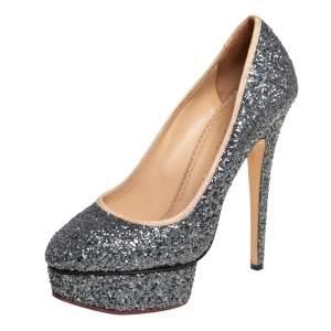 Charlotte Olympia Silver Glitter Priscilla  Pumps Size 39