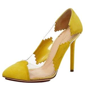 Charlotte Olympia Yellow PVC and Suede Montana Pumps Size 35