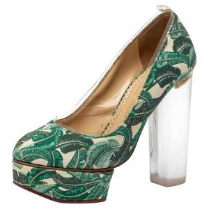 Charlotte Olympia Green Leaves Printed Canvas And PVC Mabel Platform Pumps Size 35