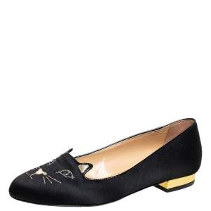 Charlotte Olympia Black Satin Kitty Ballet Flats Size 35