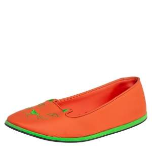 Charlotte Olympia Orange Rubber Kitty Flats Size 41