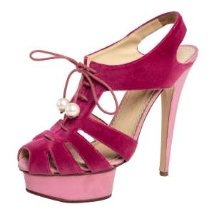 Charlotte Olympia Pink Suede Lace Up Platform Sandals Size 39.5