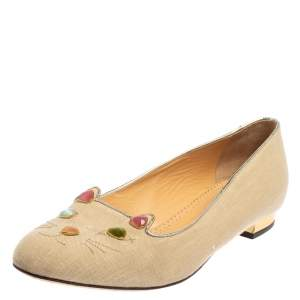 Charlotte Olympia Beige Canvas Kitty Ballet Flats Size 41