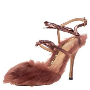 Charlotte Olympia Metallic Bronze Leather And Fur Caress Me Peep Toe Sandals Size 39