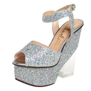 Charlotte Olympia Silver Glitter Leandra Platform Ankle Strap Sandals Size 36.5
