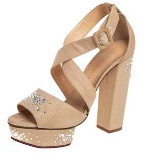 Charlotte Olympia Beige Canvas Crystal Embellishment Platform Sandals Size 39.5
