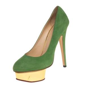 Charlotte Olympia Green Suede Dolly Platform Pumps Size 36.5