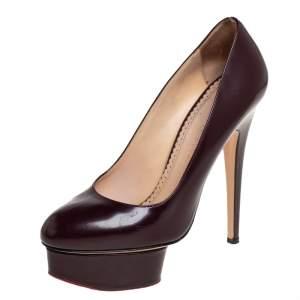 Charlotte Olympia Burgundy Leather Dolly Platform Pumps Size 37