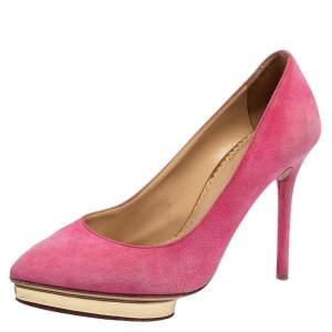 Charlotte Olympia Pink Suede Dotty Pumps Size 36