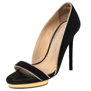 Charlotte Olympia Black Suede Christine Open Toe Sandals Size 36.5