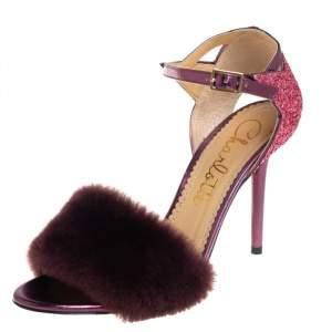 Charlotte Olympia Tricolor Glitters and Fur Capella Sandals Sie 38.5