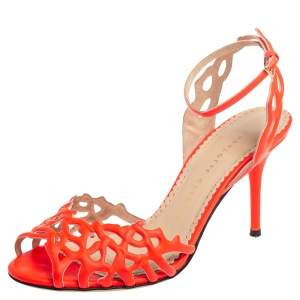Charlotte Olympia Orange Leather Ankle Strap Sandals Size 36.5