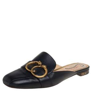 Charlotte Olympia Black Leather Buckle Detail Mules Size 39