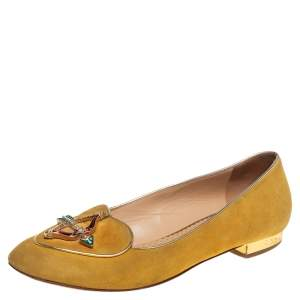 Charlotte Olympia Yellow Suede Ballet Flats Size 36.5