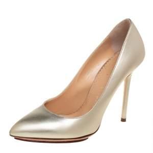 Charlotte Olympia Metallic Gold Leather Monroe Pumps Size 36