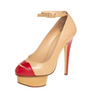 Charlotte Olympia Beige/Red Leather Kiss Me Dolores Lips Appliquè Ankle Strap Platform Pumps Size 35.5