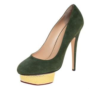 Charlotte Olympia Green Suede Dolly Platform Pumps Size 39
