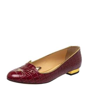 Charlotte Olympia Burgundy Leather Kitty Flats Size 40.5